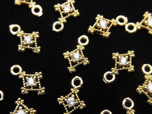 メタルパーツ ダイヤ型 チャーム ゴールドカラー(CZ付) 3個
