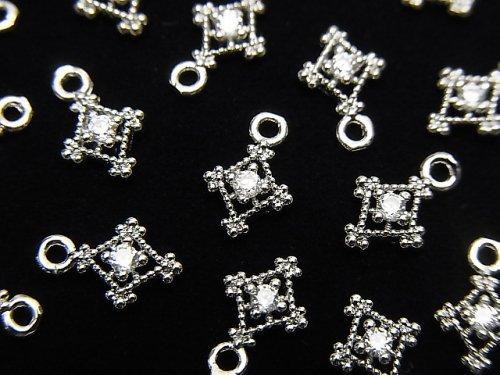 メタルパーツ ダイヤ型 チャーム シルバーカラー(CZ付) 3個