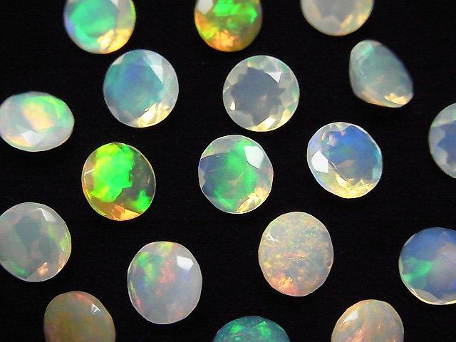 宝石質エチオピア産オパールAAA 穴なしラウンドファセットカット7×7mm 2粒