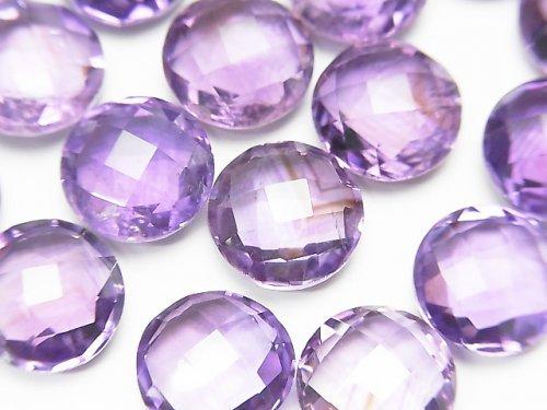 【動画】宝石質アメジストAAA 穴なしコインクッションカット11×11×5.5mm 3粒