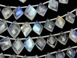 宝石質レインボームーンストーンAAA ダイヤカット 半連/1連(約20cm)