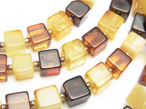 バルティックアンバー(琥珀) キューブ6×6×6mm マルチカラー 1連(ネックレス)