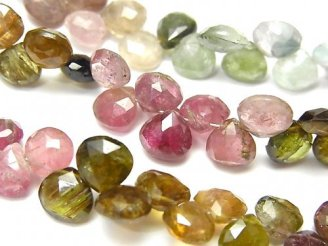 宝石質マルチカラートルマリンAA+ マロン ブリオレットカット 半連/1連(約18cm)