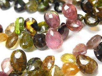 宝石質マルチカラートルマリンAA++ 大粒ペアシェイプ ブリオレットカット 半連/1連(約17cm)