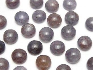 天然石卸 高品質ブラッドショットアイオライトAAA ラウンド カボション10×10mm 3個1,280円!