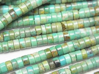 ターコイズAA+ チューブ(ロンデル)4×4×2mm 半連/1連(約38cm)