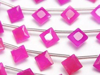宝石質フューシャピンクカルセドニーAAA ダイヤ プリンセスカット8×8mm 1連(8粒)