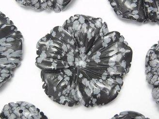 スノーフレークオブシディアン フラワー(お花) 40×40×8mm 1枚580円!