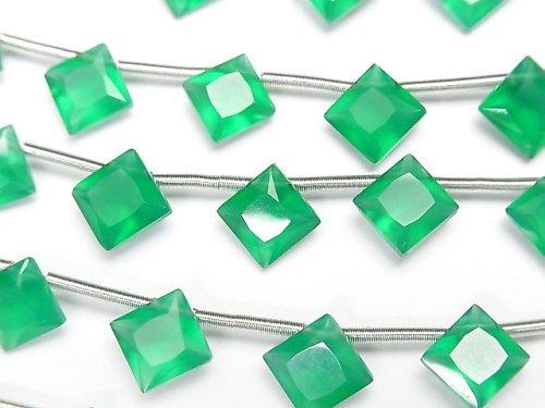 宝石質グリーンオニキスAAA ダイヤ プリンセスカット8×8mm 1連(8粒)