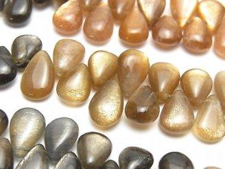 宝石質ゴールデンシャイン マルチカラームーンストーンAAA- ペアシェイプ(プレーン) 半連/1連(約18cm)