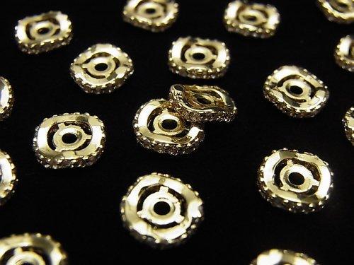 メタルパーツ ロンデル8×8×2mm ゴールド(CZ付) 2個