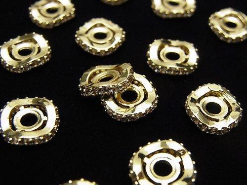 メタルパーツ ロンデル9.5×9.5×2.5mm ゴールド(CZ付) 2個