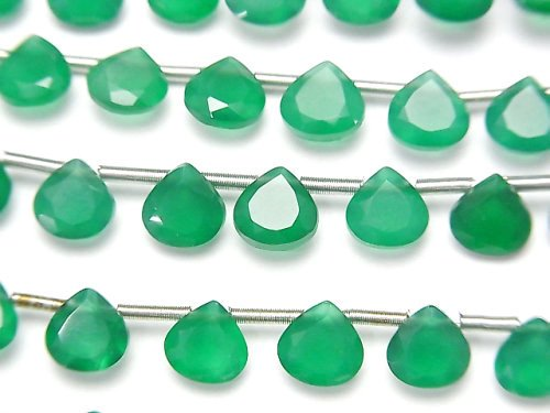 宝石質グリーンオニキスAAA マロン ファセットカット6×6mm 1連(18粒)