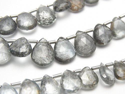 宝石質モスアクアマリンAAA マロン〜ペアシェイプ ブリオレットカット 1連(約18cm)