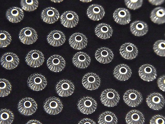 Silver925 ライン入りロンデル 4.5mm 10個