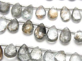 1連2,380円〜!宝石質モスアクアマリンAAA ペアシェイプ ブリオレットカット 1連(約18cm)