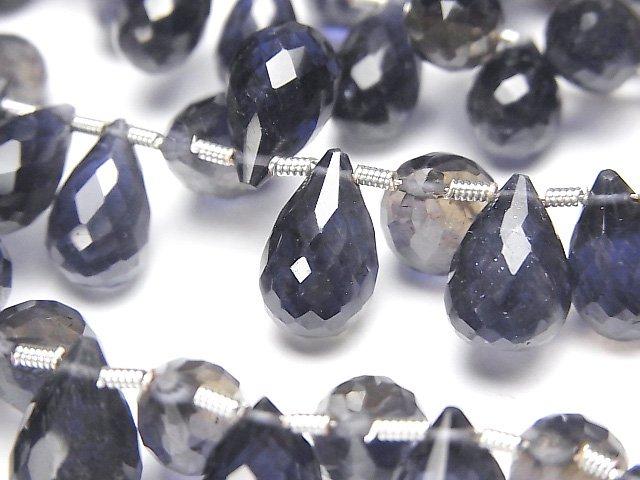 宝石質アイオライトAAA- ドロップ ブリオレットカット 半連/1連(約18cm)