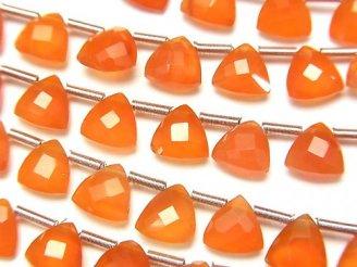 宝石質カーネリアンAAA トライアングル ブリオレットカット6×6mm 【ダークカラー】 半連/1連(28粒)
