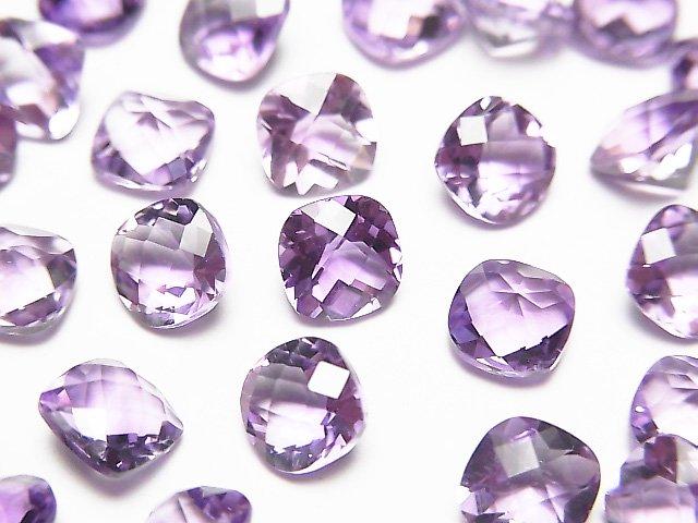 宝石質ピンクアメジストAAA 穴なしスクエアファセットカット(チェッカーカット)6×6mm 5粒