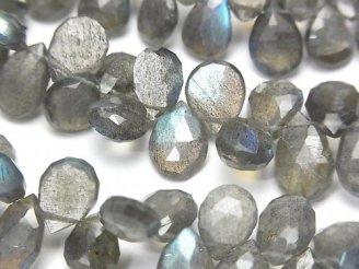 宝石質ラブラドライトAA++ ペアシェイプ ブリオレットカット 半連/1連(約20cm)