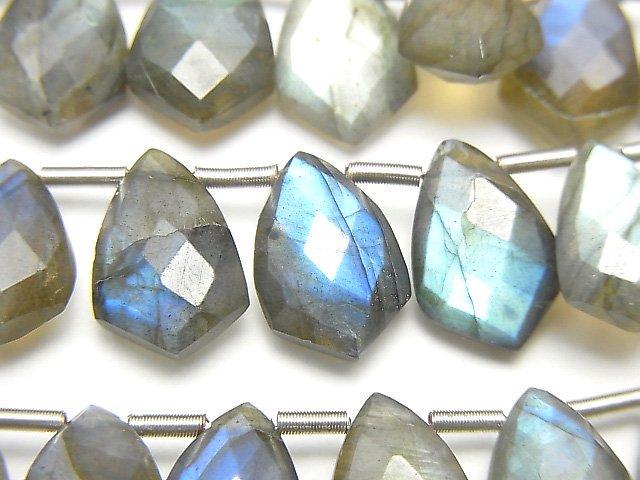 宝石質ラブラドライトAA++ 変形マーキスカット12×8mm 半連/1連(18粒)