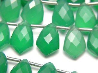 宝石質グリーンオニキスAAA 変形マーキスカット12×8mm 半連/1連(18粒)