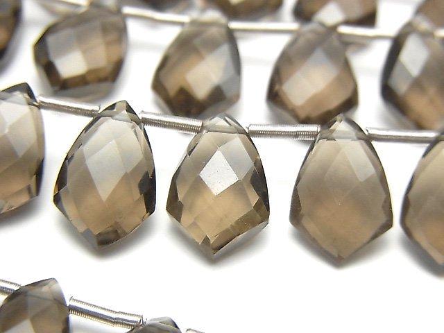 宝石質スモーキークォーツAAA 変形マーキスカット12×8mm 半連/1連(18粒)