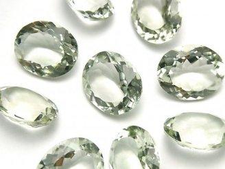 宝石質グリーンアメジストAAA 穴なしオーバルファセットカット17×14mm 2粒1,580円!