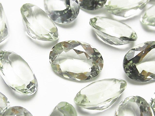 宝石質グリーンアメジストAAA 穴なしオーバルファセットカット18×13mm 2粒