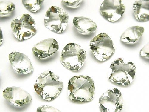 宝石質グリーンアメジストAAA 穴なしスクエアファセットカット(チェッカーカット)10×10mm 4粒