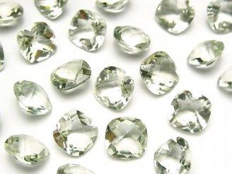 宝石質グリーンアメジストAAA 穴なしスクエアファセットカット(チェッカーカット)10×10mm 4粒1,180円!
