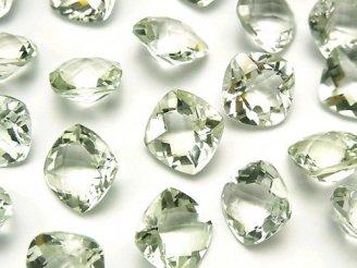 宝石質グリーンアメジストAAA 穴なしスクエアファセットカット(チェッカーカット)12×12mm 4粒1,880円!