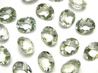 宝石質グリーンアメジストAAA 穴なしオーバルファセットカット(チェッカーカット)12×10mm 5粒1,480円!