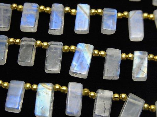 【動画】宝石質レインボームーンストーンAAA- レクタングル 1連(約18cm)