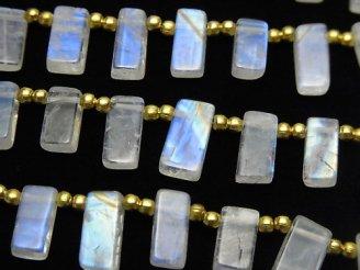 1連1,980円〜!宝石質レインボームーンストーンAAA- レクタングル 1連(約18cm)