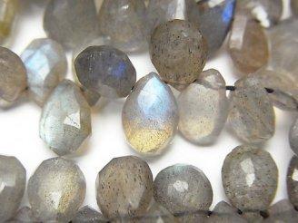 天然石卸 ラブラドライトAA+ ペアシェイプ ブリオレットカット 半連/1連(約23cm)