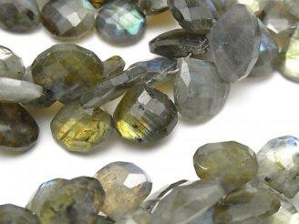 天然石卸 宝石質ラブラドライトAA++ マロン ブリオレットカット 半連/1連(約17cm)