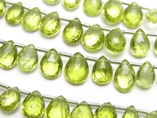 宝石質ペリドットAAA ペアシェイプ ブリオレットカット 1連(13粒)