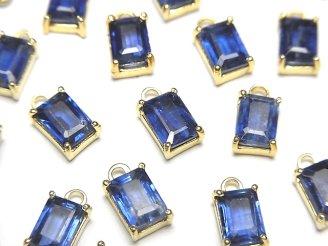 天然石卸 宝石質カイヤナイトAAA- 枠留めレクタングルファセットカット7×5mm 18KGP 2個1,580円!