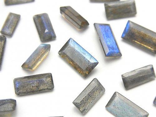 宝石質ラブラドライトAA++ 穴なしレクタングル ファセットカット 10粒