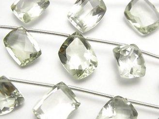 天然石卸 1連1,980円!宝石質グリーンアメジストAAA フリーフォーム ファセットカット 1連(9粒)