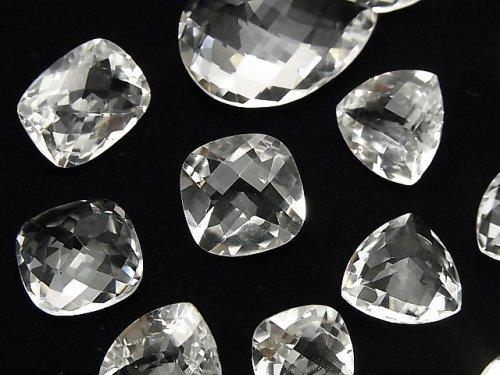 宝石質クリスタルAAA 穴なしファセットカット(チェッカーカット) サイズミックス 2粒