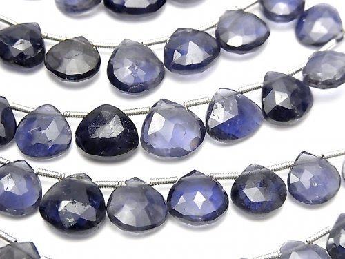 宝石質アイオライトAA++ マロン ブリオレットカット 1連(約18cm)