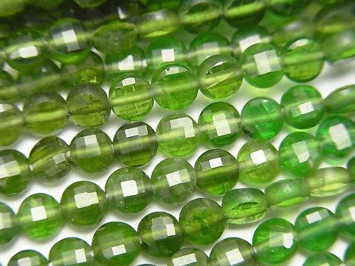 【動画】【素晴らしい輝き】クロムダイオプサイドAAA- コインカット4×4×2mm カラーグラデーション 半連/1連(約32cm)