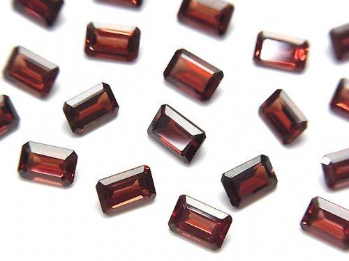 【動画】宝石質モザンビーク産ガーネットAAA 穴なしレクタングルファセットカット6×4mm 5粒