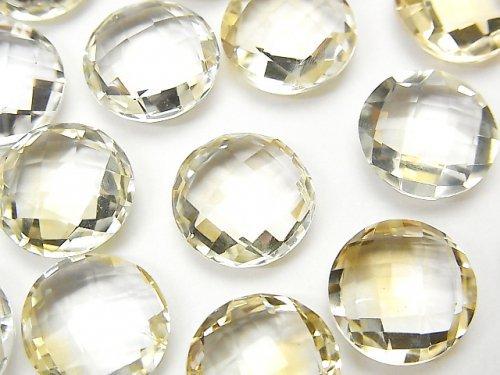 宝石質ライトカラーシトリンAAA 穴なしコインクッションカット12×12mm 4粒