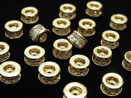 メタルパーツ ロンデル6×6×3.5mm ゴールド(CZ付) 2個