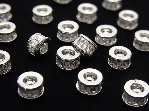 メタルパーツ ロンデル6×6×3.5mm シルバー(CZ付) 2個