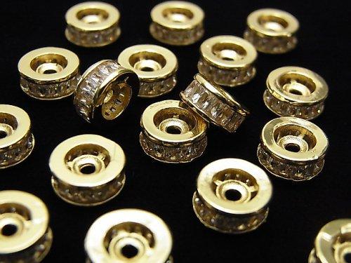 メタルパーツ ロンデル8×8×3.5mm ゴールド(CZ付) 2個