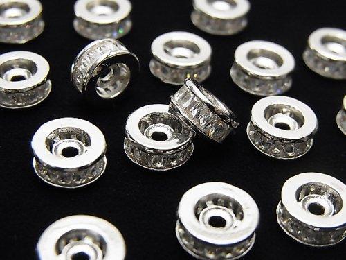 メタルパーツ ロンデル8×8×3.5mm シルバー(CZ付) 2個